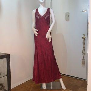 SILK Betsy Johnson ULTRA BURGUNDY long gown